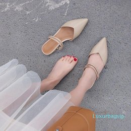 women rubber clothing UK - Crystal2019 Nude Summer Color Sharp Flat Bottom Joker Two Clothes Half Slipper Woman Genuine Leather Baotou Low With Coarse With Sandals