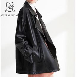 $enCountryForm.capitalKeyWord Australia - 2019 Genuine Leather jacket Women Outerwear black Plus Size Turn-down Collar motorcycle loose Korean Style real Sheepskin Coats