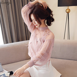 Discount korean shirt style for women - New Dangal Fashion Sexy Solid Long Sleeve Women Blouse Spliced Beading Tulle Feathers Tops Short Korean Style Shirts for