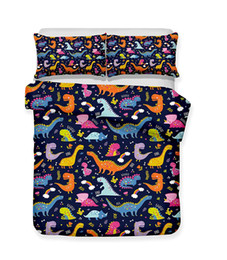 $enCountryForm.capitalKeyWord Australia - Dinsouar Series Colourful Cartoon Little Dinsouars Lifelike Bedding Set Print Duvet Cover Doona Cover Set Bed linen Home Textiles