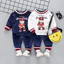 Bear Christmas Suit Australia - Spring and Autumn Children's Suit, 2019 Two-piece Suit for 0-4-year-old Baby Cartoon Bear with Round Neck and Long Sleeves