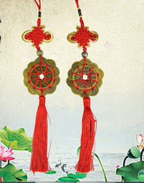 Chinese Lucky Knots NZ - Red Chinese knot FENG SHUI Set Of 10 Lucky Charm Ancient I CHING Coins Prosperity Protection Good Fortune