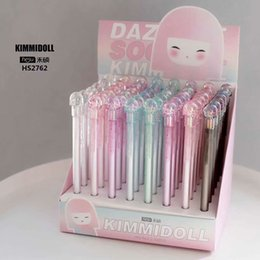 stationery Australia - 48 Pcs Kawaii Gel Pens Bright Girl Black Color Gift Gel-ink Pens Pens For Writing Cute Stationery Office School Supplies