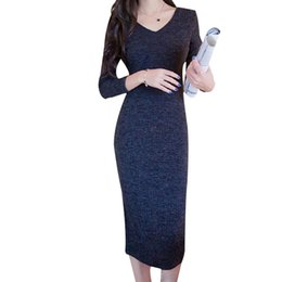 1b02ee0643 autumn winter knitted sweater bodycon midi dresses women v neck long sleeve  pencil sexy dresses elastic slim long dress