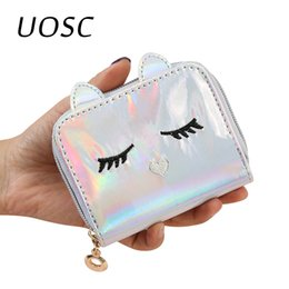 Cat Face Coin Australia - UOSC Fashion Pu Leather Laser Hologram Cute Wallets For Women Girls Coin Purses Cartoon Cat Face Mini Holders