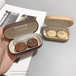 white leather storage boxes UK - VtiOq Myopia Invisible box leather glasses case glasses case wood grain large diameter leak proof storage duplex partner simple contact lens