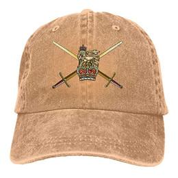 British Cap UK - 2019 New Designer Baseball Caps British Army Emblem Mens Cotton Adjustable Washed Twill Baseball Cap Hat