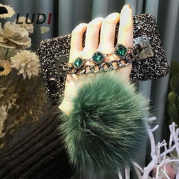 $enCountryForm.capitalKeyWord Australia - wholesale High Quality Diamond Case For iPhone X 8 7 6 6s 6 7plus Fox Fur Pompom Furball Chain Back Case bling Cases Cover Capas