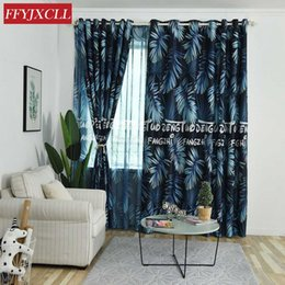 $enCountryForm.capitalKeyWord NZ - Modern Blue Leaves Printed Blackout Curtains For Living Room Window Tulle And Curtains For Bedroom Child Drapes 85% Shading