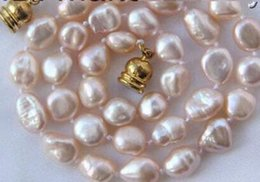 Stunning Necklaces Australia - stunning 9-10mm baroque pink keshi reborn freshwater pearls necklace h2655