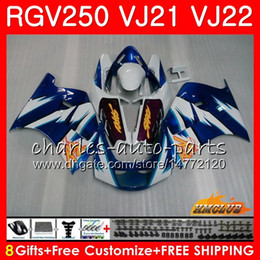 rgv fairings Canada - Bodys For SUZUKI RGV250 VJ21 88 89 90 91 92 93 SAPC Frame hot blue white 20HC.2 RGV-250 RGV 250 VJ22 1988 1989 1990 1991 1992 1993 Fairing