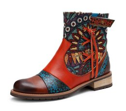western cowboy charms Australia - Women's shoes new leather fine print ladies leather boots fashion trend cowboy boots designer women's shoes