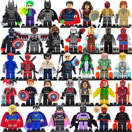 Wholesale 8pcs lot Marvel DC Super minifigs Series action figures building blocks The Avengers figures DIY Children Bricks Toys Gift Collection