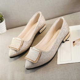 Woman Shoes Low Heels NZ - Designer Dress Shoes Women Sequins Shallow Square Buckle Slip On Low Heel Pointed Single