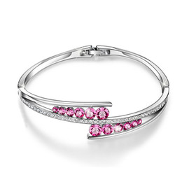 wholesale blue diamond jewelry sets NZ - Love Encounter S925 sterling silver Crystals Bangle Bracelets White Gold Plated Adjustable Hinged fashion Jewelry Pink,White,Blue diamond
