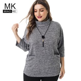 Wholesale Miaoke Spring Ladies Plus Size Knitted High collar Tops Women Clothing Fashion Large Size female T shirt