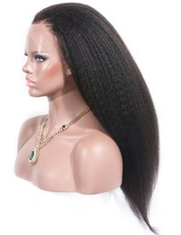 yaki human hair lace front wigs Australia - Popular unprocessed remy virgin human hair natural color long yaki straight full front lace wig for women