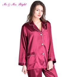 994b36fb65ddc Г-н миссис право атласные пижамы набор халат мода спальные одежда Женская  ночная рубашка шелк длинный размер V-образным вырезом День Святого  Валентина ...