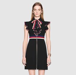 $enCountryForm.capitalKeyWord Australia - 2019 new designer Sylvie series clothes Striped Ribbon Dress for Women Waist Slim Fit Contrast Ruffle Ruffled Bow Tie Sleeveless Dress