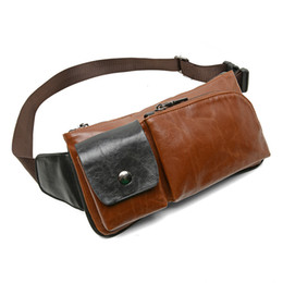 handkerchief Australia - High Quality PU Leather Small Waist Bag Fanny Pack Men's Leather Belt Bag Phone Pouch Handkerchief Chest Bum Bag Male Travel SH190924