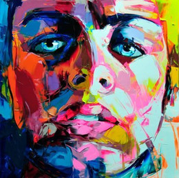 $enCountryForm.capitalKeyWord Australia - Hand painted Palette knife painting portrait Palette knife Francoise Nielly Face Abstract Oil painting Impasto figure on canvas Decor FN113
