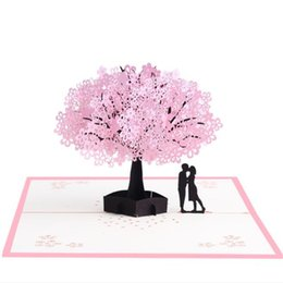$enCountryForm.capitalKeyWord UK - Cherry Blossoms 3d Greeting Card Romantic Flower Pop Up Hollow Cards Wedding Congratulation Cards Valentine Day Brand Cards