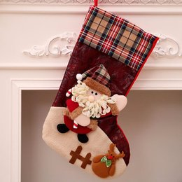 Family tree decor online shopping - 3D Plaid Christmas Stockings Big Candy Hanging Bags Socks Design for Family Kids To Decor Xmas Tree