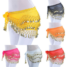 Coin Scarf Belly Dancing Australia - Belly Dance Hip Scarf Wrap Belt Tribal Sash Skirt Silver 128 Coins Polyester fashion accessories 40FE13