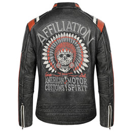 vintage motorcycle jackets NZ - 2019 Vintage Black Men Skull Embroidery American Motorcycle Leather Jacket Plus Size XXXXXL Genuine Thick Cowhide Biker's Coat