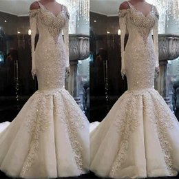 Wholesale 2020 Plus Size Mermaid Wedding Dresses Sweetheart Neck Lace Appliques Sweep Train Bridal Gowns Custom Made