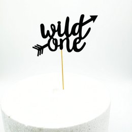 Card ornament online shopping - Wild One Baby Shower Favors Card Insertion Cake Decorate Pure Color Toothpick Paper Ornament One Year Old Party hnb1