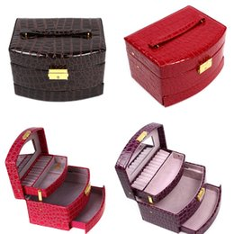 Discount jewellery organizer case - Luxury PU Leather Jewelry Gift Box 3 Layers Jewellery Display Storage Box Packaging Case Organizer Makeup Bag Cosmetic