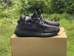Vente en gros Sortie 2019 Authentique Boost 350 V2 Triple Static Noir 3M Réfléchissant Originaux GID Lueur Dans Le Noir Kanye West Hommes Chaussures De Course FU9013