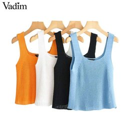 $enCountryForm.capitalKeyWord Australia - Vadim Sexy Knitted Camis Tank Top Solid Sleeveless Backless Strenchy Shirt Female Casual Chic Blouse Wa260 Q190514