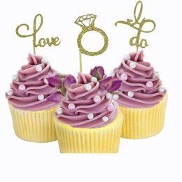$enCountryForm.capitalKeyWord Australia - 6pcs Glitter Love Cupcake Toppers Diamond Ring Wedding Dress Cupcake Toppers for Wedding Engagement Bridal Shower Decorations