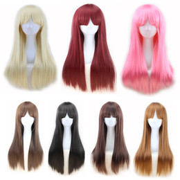 $enCountryForm.capitalKeyWord Australia - straight hair human fashion anime cute hair wigs for white women cosplay neat bang 70 cm pink 7 colors