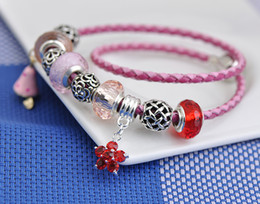 Steel Lanterns Australia - 2019 Pink Leather Rope Bracelets Fit Pandora Women Faceted Murano Glass Beads Openwork Lantern Beaded Charms Bangle Gold Bell Pendant P212