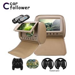 video car games UK - 2PCS 9 Inch Car Headrest Monitor DVD Video Player 800x480 Zipper Cover TFT LCD Screen Support IR FM USB SD Speaker Game