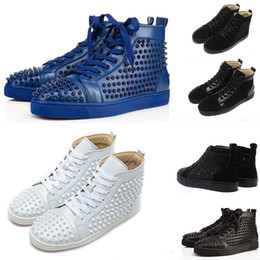 Punk shoes mens black online shopping - With Box Mens Womens Designer Studded Leather Boots Fashion Punk Style Luxury Youth Genuine Leather Casual Shoes Black Red Sneakers