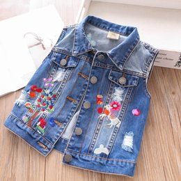 Girls Denim Vest Clothing Australia - New Girls Denim Waistcoat 2019 new embroidery butterfly Kids Waistcoat Girl Vest Children Outwear Girl Coat kids clothes girls clothes A4151