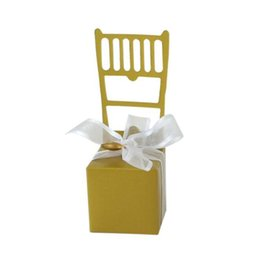 chairs charm Australia - Classic Candy Box Silver Gold Chair Wedding Favor Box with Ribbon and Heart Charm For Wedding Gift Box ZC0463