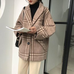 Wave Canvas Print Australia - Women Winter Fashion Wool Coats Wide-waisted Coat Long Sleeve Elegant Thick Warm Coat Female Plaid Printed Overcoat Jackets