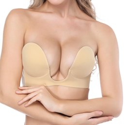 4ae608f04b New Deep U Plunge Bra Invisible Push Up Bra Strapless Bras Formal Dress  Wedding Evening Sticky Self-Adhesive Silicone Breathable Brassiere