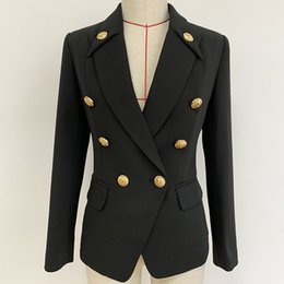 $enCountryForm.capitalKeyWord Australia - New Autumn Winter Women Black Blazers Lion Head Golden Buttons Double Breasted Suit Jacket Long Sleeve Slim Office Business Blazer P773