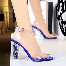 sexy glitter heel shoes Canada - size 35 to 42 43 glitter transparent PVC high heel clear shoes bridal wedding shoes sexy women designer sandals shoes 02g