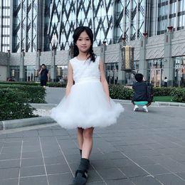 $enCountryForm.capitalKeyWord Australia - Baby Girl Tutu Dresses White Flower Girl Dress Fold Cotton Blend Bow Round Neck Knee-Length Ball Gown Sleeveless 40