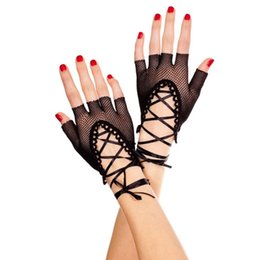 $enCountryForm.capitalKeyWord Australia - Women Wrist Length Sexy Half Finger Gloves Solid Color Hollow Out Fishnet Criss Cross Lace Up Bandage Mittens Dancing Party W77