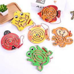 $enCountryForm.capitalKeyWord Australia - Fashion Kids Wooden Animal Track Beads Magnetic Pens Moving Maze Toys New Fashion Beads Moving Maze Toys