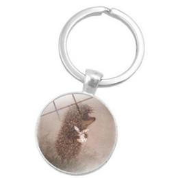 Russia Coin Australia - RUSSIA HOT POPULAR CUTE HEDGEHOG GLASS PENDANT KEYCHAIN KEYRING KEY ACCESSORY KEY CHAIN KEY RING CABOCHON PRECIOUS STONE CAR BAG ACCESSORIES