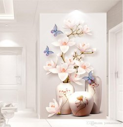waterproof kitchen wall paper NZ - Custom HD Photoflowers entrance hallway 3d wallpaper Wall paper Home Decor Kitchen Living Room